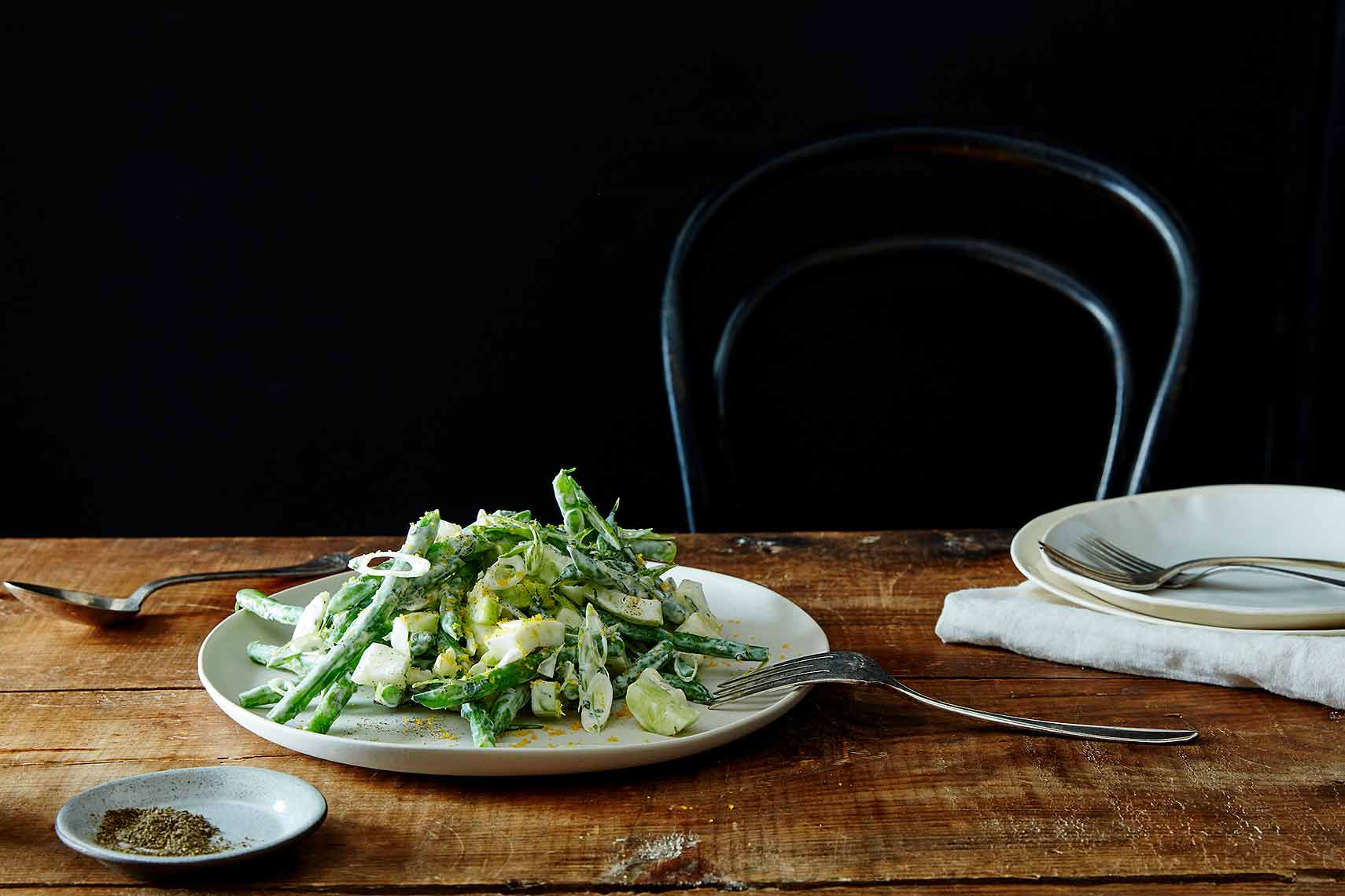 chopped salad with yogurt dressing and bottarga