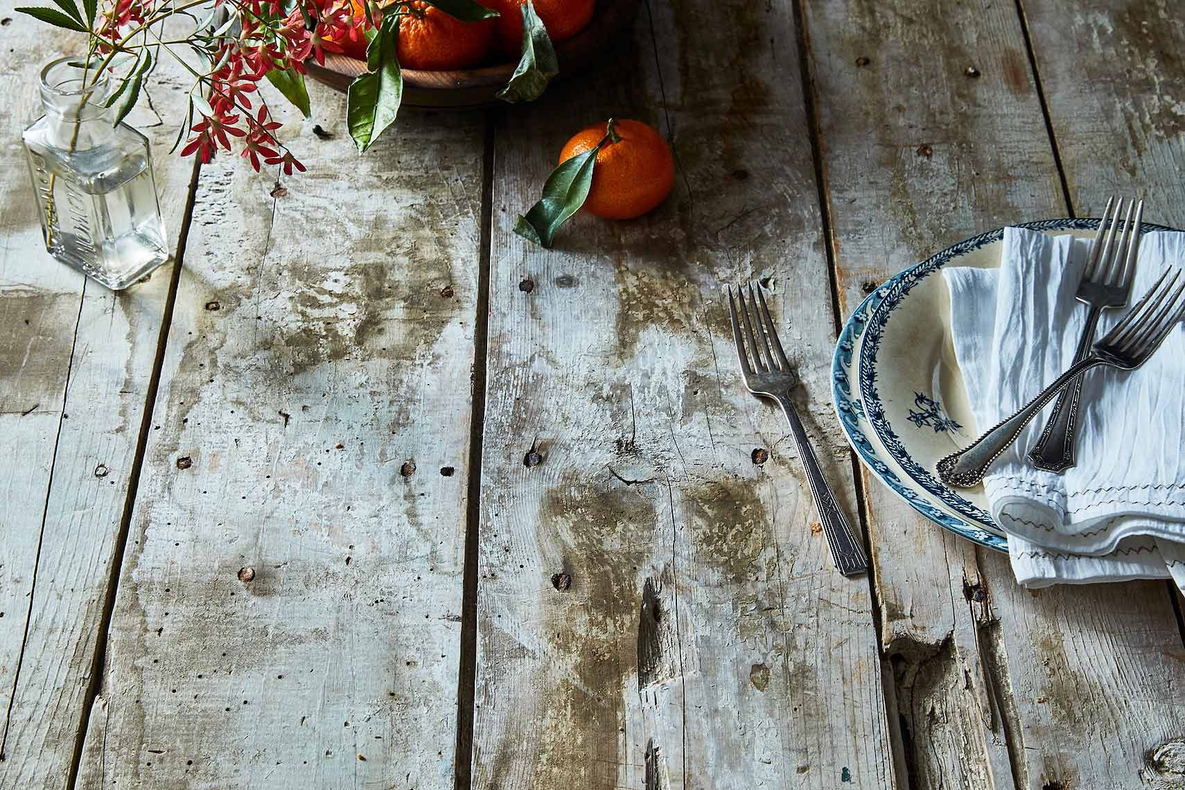 rustic table and orange