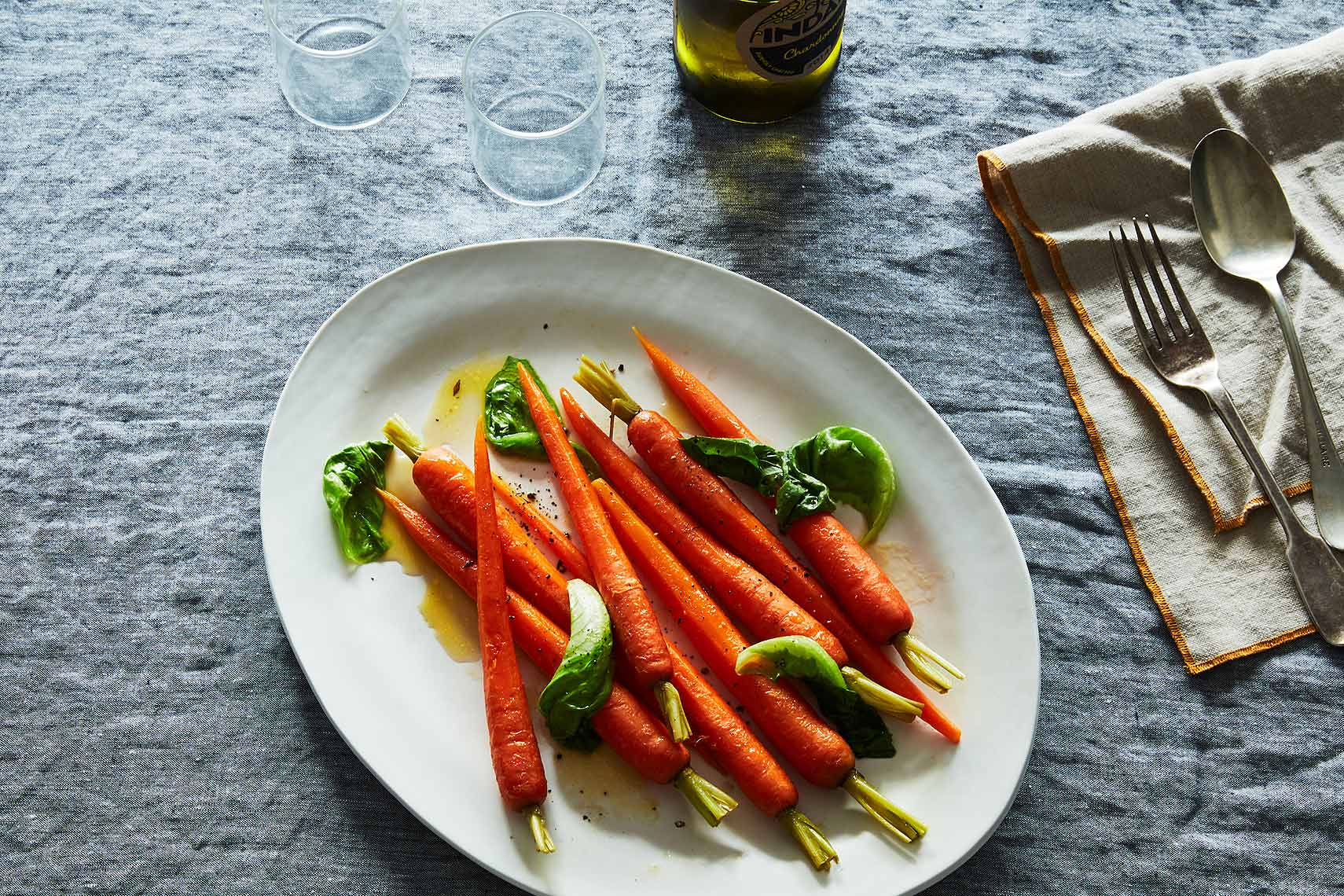 glazed carrots with braised bibb